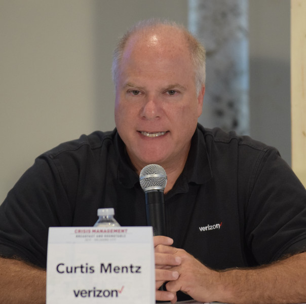 Curtis Mentz, Verizon, with the 1st group during the Crisis Management Roundtable event held at the Petroleum Club in Downtown OKC, 8-21-2019.  photo by Mark Hancock
