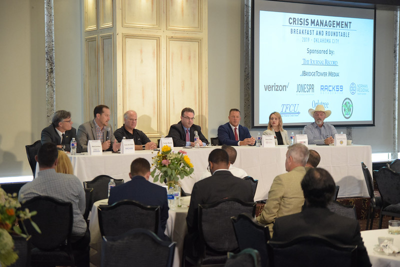 The 1st group during the Crisis Management Roundtable event held at the Petroleum Club in Downtown OKC, 8-21-2019.  photo by Mark Hancock