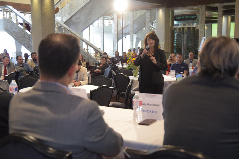 Questions for the 1st group during the Crisis Management Roundtable event held at the Petroleum Club in Downtown OKC, 8-21-2019.  photo by Mark Hancock