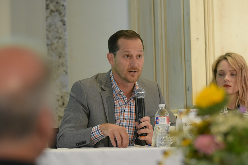 Dusty Burchfield, Rack 59, with the second group during the Crisis Management Roundtable event held at the Petroleum Club in Downtown OKC, 8-21-2019.  photo by Mark Hancock
