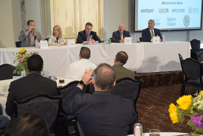 Dusty Burchfield speaks, with the 2nd group during the Crisis Management Roundtable event held at the Petroleum Club in Downtown OKC, 8-21-2019.  photo by Mark Hancock