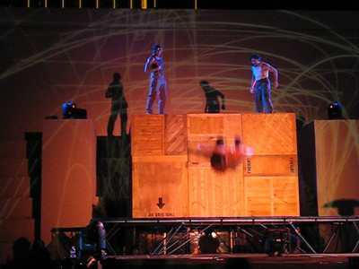 "Video trampoline artists at Criss Angel's Gala on Holloween night after his show ""Believe"" in the pool area of the Luxor where ""Believe,"" a Cirque de Soleil show will run the next 10 years."