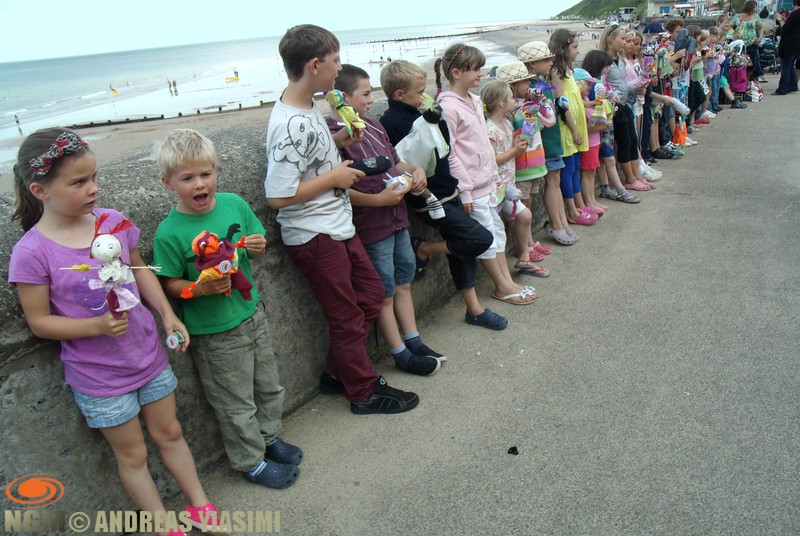 Colorful puppets on Cromer promenade