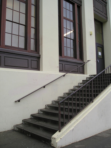 Just up these stairs is--can hardly wait!--the entrance into the world of crossword puzzle tournaments!
