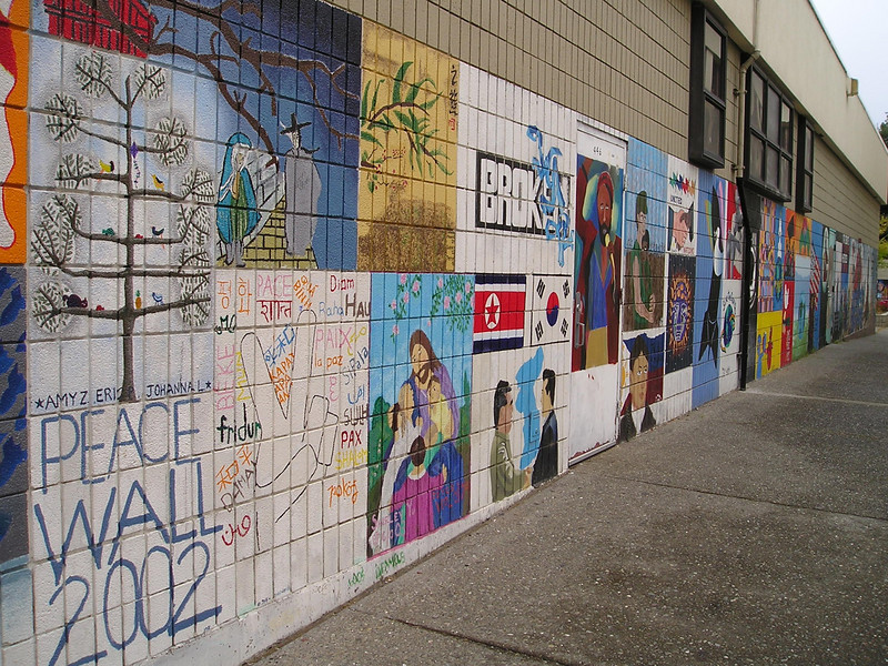 One exterior wall with student artwork.
