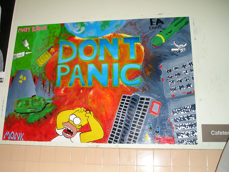 I thought it appropriate that this artwork covered the wall directly outside the cafeteria where the competition is being held.