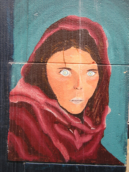 """Even this <a href=""""http://hubpages.com/hub/Afghan_Girl_With_Green_Eyes"""">famous National Geographic magazine cover</a> appeared on one wall. Well-read students!"""