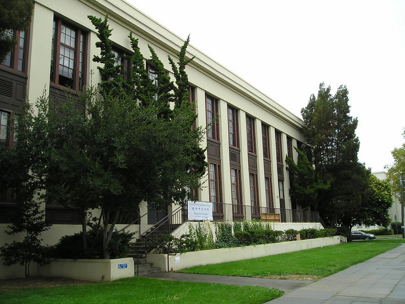 The newer wing of Alameda High School, where the crossword puzzle tournament was held in the cafeteria.