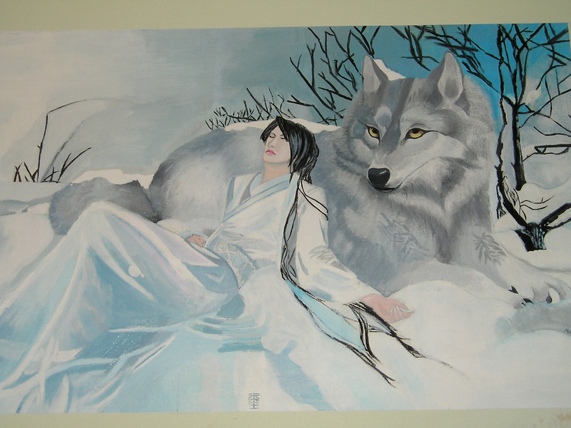 The only other dog-related painting was this beautiful wolf.