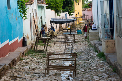 Typical steet scene in the city of Trinidad.  A well preserved Spanish colonial settlement frozen in the 1850's.  The entire city is a Unesco World Heritage Site