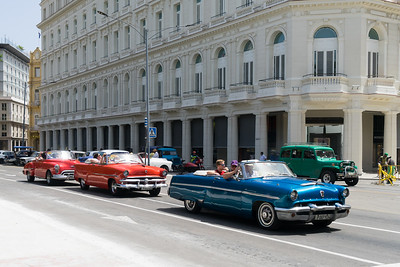 Trio of old cards in Havana.  Nearly all the classic American cards in the city are taxis.