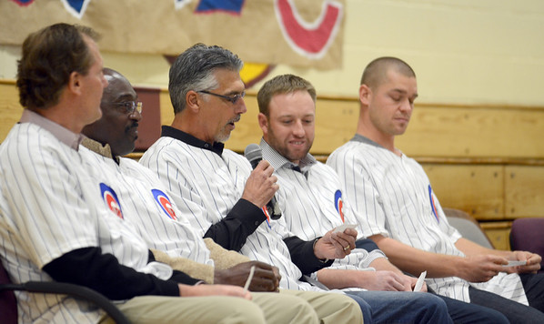 Cubs members including (left-right) Jamie Quirk, Lester Strobe, Dave McKay, Andy Lane and Michael Bowden visit Montini to discuss the importance of exercise Wednesday Jan. 16 2013. The visit included trivia questions and athletic competition. Erica Benson—ebenson@shawmedia.com