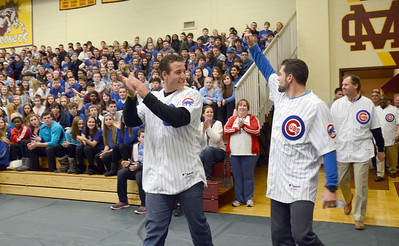 Cubs members including Anthony Rizzo and David DeJesus visit Montini to discuss the importance of exercise Wednesday Jan. 16 2013. The visit included trivia questions and athletic competition. Erica Benson—ebenson@shawmedia.com