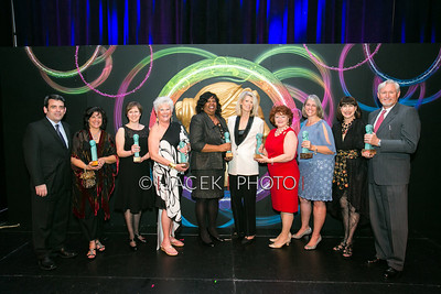 Photo Credit: Jacek Photo. Caption: L-R: William Hayes, Mary Anne Webber, Tracy Butler, Roe Green, Charlene Jones, Nancy Jones, Cynthia Palmieri, Carrie Bradburn, Sharon Koskoff and John  at The Cultural Council of Palm Beach County 2014 Muse Awards at The Kravis Center in West Palm Beach, Fla. on March 13, 2014.