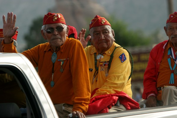 The codetalkers are WW II veterans who used the Navajo language as a secret code during the war in the Pacific.  It proved to be impossible to break, and led to many victories among the allies.