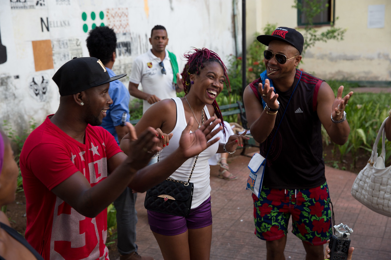 8. Cuban hip-hop artist La Fina raps for the Common Ground Music Project and other Cuban artists at Centro Cultural Pablo de la Torriente Brau in Havana.