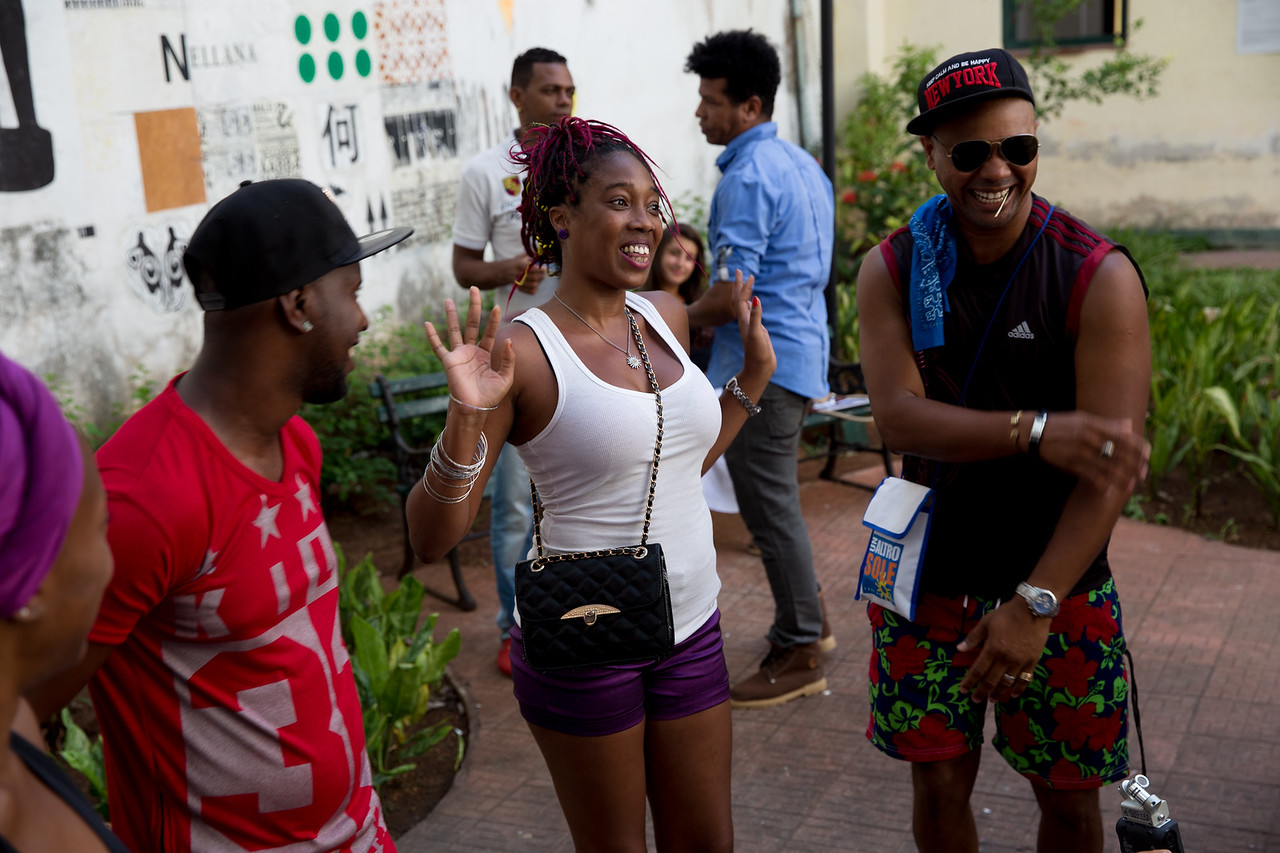 9. Cuban hip-hop artist La Fina raps for the Common Ground Music Project and other Cuban artists at Centro Cultural Pablo de la Torriente Brau in Havana.