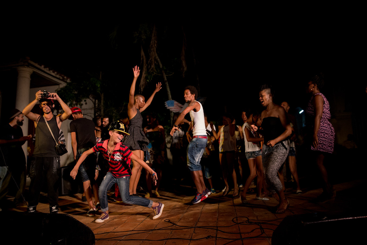 4. Community members dance together after a performance by the Common Ground Music Project in Viñales, Cuba.