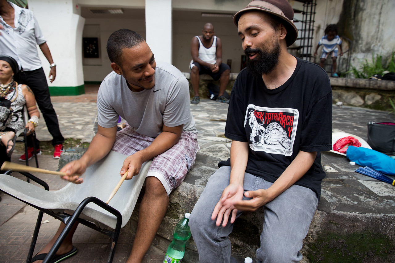 7. Seattle hip-hop artist Gabriel Teodros raps to percussionist Chris Patin's beats for the Common Ground Music Project and other Cuban artists at Centro Cultural Pablo de la Torriente Brau in Havana.