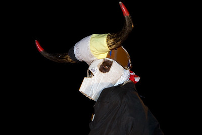 Two Foot Cow makes an appearance on stage on Culture Sunday in Dangriga, Stann Creek, Belize.
