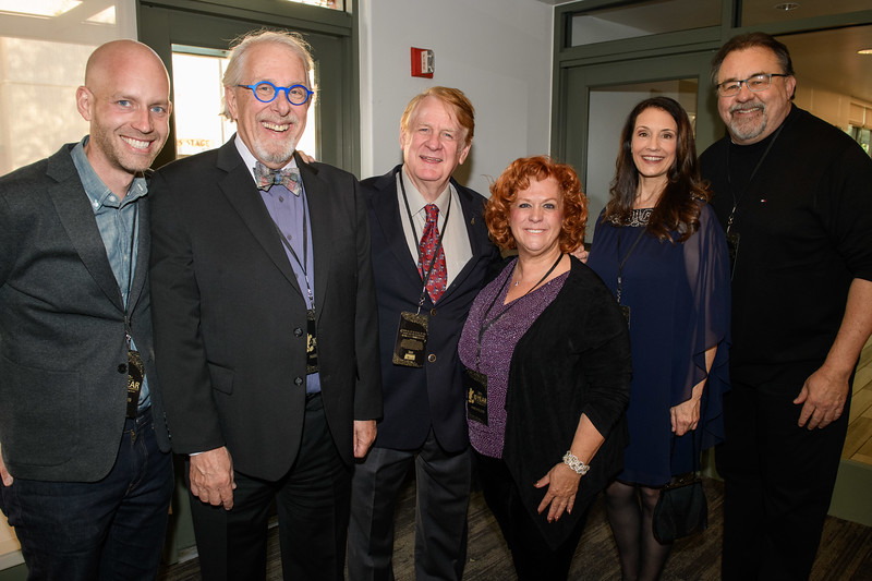 Left to right, Bret Iwan (voice of Mickey Mouse), Bill Rogers<br /> (voice actor, announcer at Disneyland), Bill Farmer (voice of Goofy),<br /> producer Jennifer Farmer, Camille Dixon (voice actor, announcer at Disney<br /> <br /> California Adventure), and producer Don Hahn at D23's 10-Year FAN-<br /> niversary Celebration at the Walt Disney Studios, March 10, 2019.