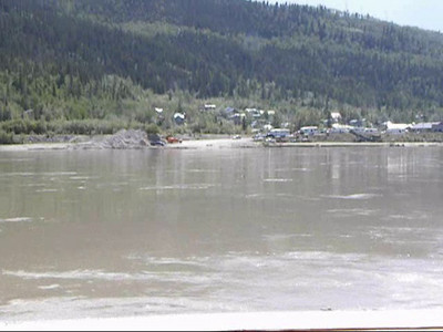 What it looks like to ride the George Black across the Yukon River to Dawson City in the Yukon.