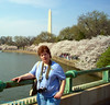 Mom at the tidal basin. Note it is sunny and warm. A first.
