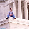 Jim sitting on the corner of the Jefferson Memorial steps