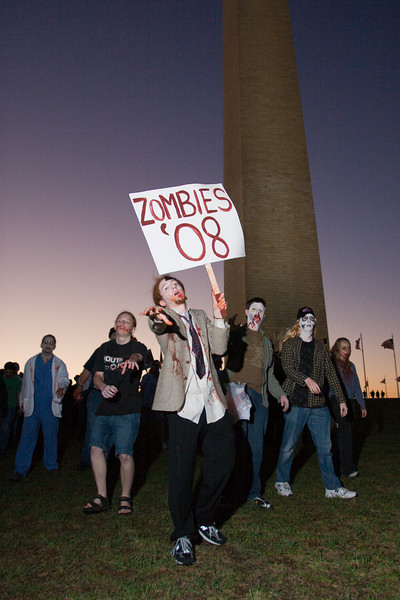 "A group of Undead dance to ""Thriller"" at the Monument then lurch to the Metro and beyond"