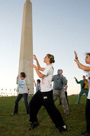 """A group of Undead dance to """"Thriller"""" at the Monument then lurch to the Metro and beyond"""