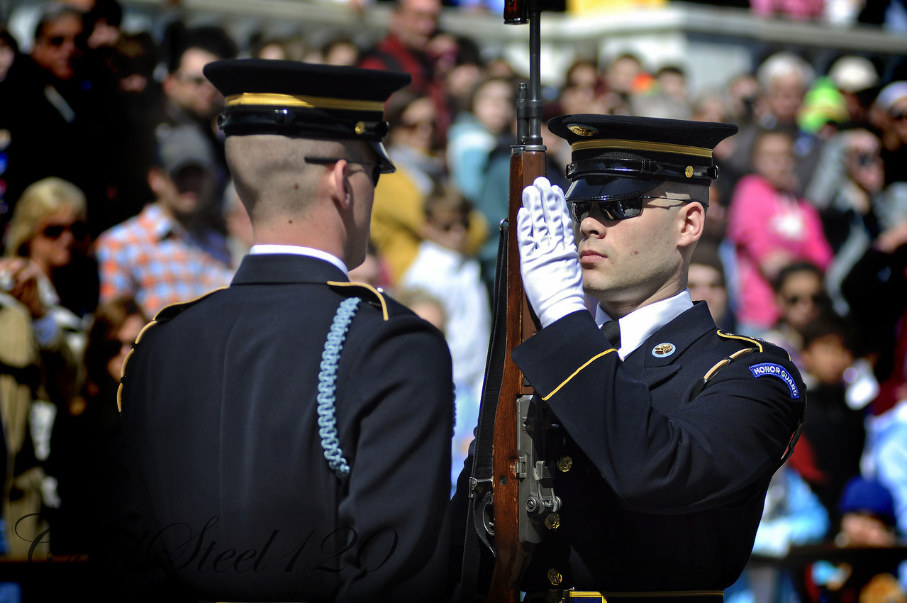 Twenty-one year-old soldiers make up the honor guard at the Tomb of the Unknown Soldier at Arlington National Cemetery.