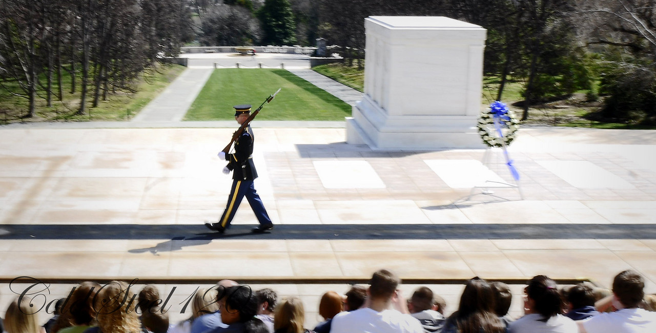 Twenty-one steps in each direction is the length of the honor guard's patrol at the Tomb of the Unknown Soldier at Arlington National Cemetery in Arlington, Va.