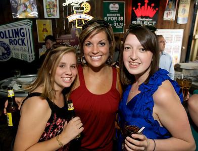 Meghan Miller of Mt. Lookout, Maria Lees and Katie Woodruff of Cincinnati at Mt. Lookout Tavern for the DERF Happy Hour
