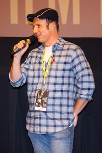 Michael Krist-Donen, from MediaTech Institute, answers questions about his film 'Behind the Red Door' at the North Texas College Shorts Showcase at the 2016 Dallas International Film Festival. The screening took place at the Alamo Drafthouse DFW. (Photo by Sam Hodde)