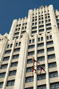 Bandaloop dances on the Continental Building in St. Louis.