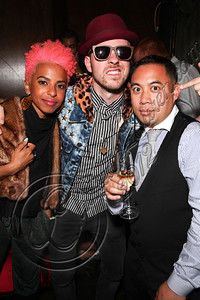 LOS ANGELES, CA - MAY 12:  (L-R) Vocalists Novena and Ricky Reed of Wallpaper. and DJ E-Man attend E-Man's birthday celebration at The Writer's Room on May 12, 2012 in Los Angeles, California.  (Photo by Chelsea Lauren/WireImage)