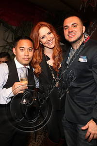 LOS ANGELES, CA - MAY 12:  (L-R) DJ E-Man and managing partner of Snuggg Management Heather Wolsic and DJ Felli Fel attend E-Man's birthday celebration at The Writer's Room on May 12, 2012 in Los Angeles, California.  (Photo by Chelsea Lauren/WireImage)