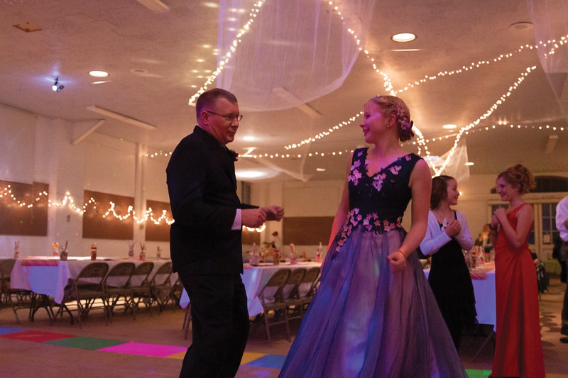 Matthew Gaston | The Sheridan Press<br>Steve Petzold cuts a rug with his daughter Elsa, 16, at the Father Daughter Dance Saturday, Feb. 2, 2019.