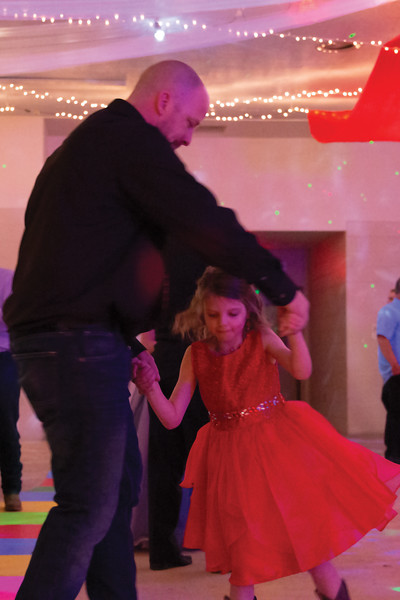 Matthew Gaston | The Sheridan Press<br>Alexis Jenkins, 6, dances with her father, Justin Jenkins, at the Sheridan County Fairgrounds during the Daddy Daughter Dance Saturday, Feb. 2, 2019.