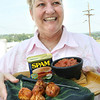 Pat Jordan of Bristol, TN shows off her Taco Spamtons before she enters them into the Spam Cooking Contest at the Appalachian Fair in Gray Wednesday. Log on to timesnews.net for a video of interviews and winners. Photo by Erica Yoon