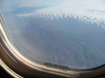 Smooth as glass flying up high - 40,000 feet - above all the weather. That's Eastern Arizona below.