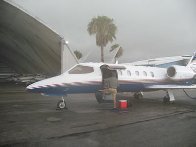 """The """"Magic Carpet"""" this year for the 2007 Laguna MotoGP trip - November 1-3-4 Lima Juliette, a 1997 Lear Jet 31-A. One hell of a nice airplane. Notice it is a bit misty and wet for our departure."""