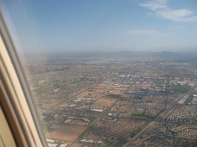 A bit pf Phoenix, AZ laid out below on approach to Scottsdale's airport.