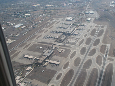 Oddly enough, our approach took us right over Phoenix's main airport - Sky Harbor...