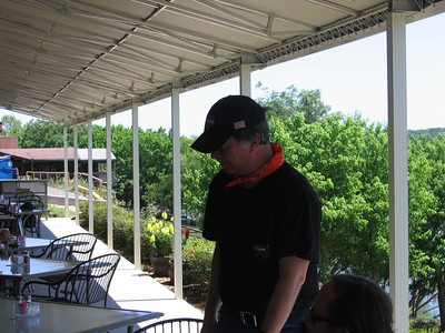 John Breidenbach from Beeville, Texas at lunch on Friday in Kerrville - right on the banks of the Guadalupe River.