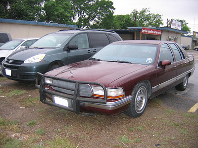 "Here's one just for ""Wild Will"" - a Buick land yacht with a *cattle catcher* bumper guard, no doubt used for killing multiple herds of those dangerous, malevolent, cunning, and ruthless deer who are out to get humans off the planet with wild suicide attacks on motorcyclists..."