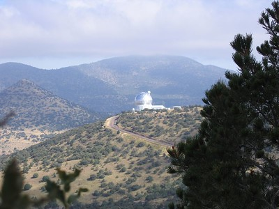 The Hobby-Eberly 433-inch telescope as seen from an adjacent ridgetop at McDonald Observatory.
