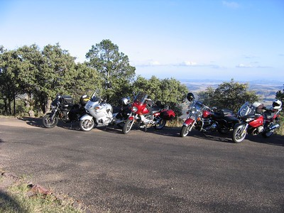 Line of fun machines looking out over West Texas from McDonald Observatory.