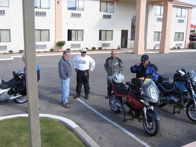 (from L to R) - Louis Jordan (behind post), Brian Gurney, Dave Mock, Mike Callas, and Dean Lear...  Brian, Dave, and Mike are wondering what kind of drugs the designer of the BMW R-1200-ST was on, while Louis just can't stand looking at it any longer...