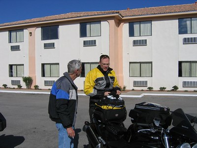 Louis Jordan (BMW R-1150-RT) chats with Paul Massie about his Triumph Speed Triple...